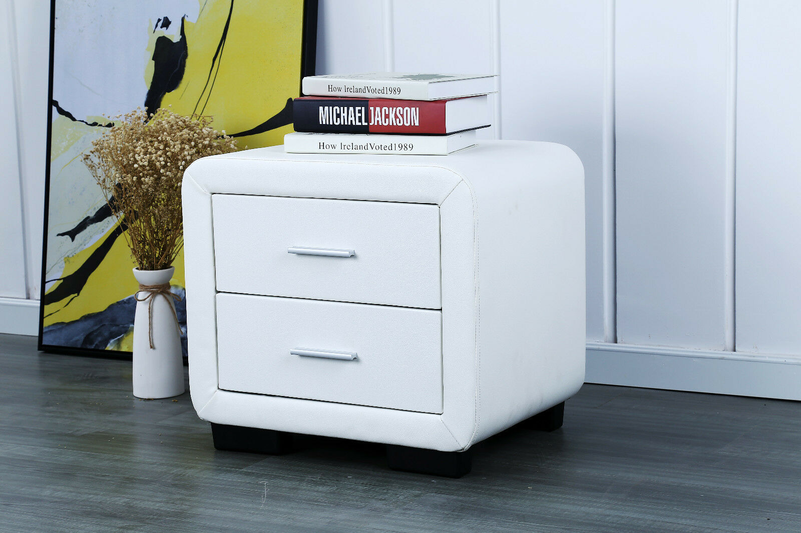 Picture of: Faux Leather Bedside Cabinet 2 Drawer White Harmin