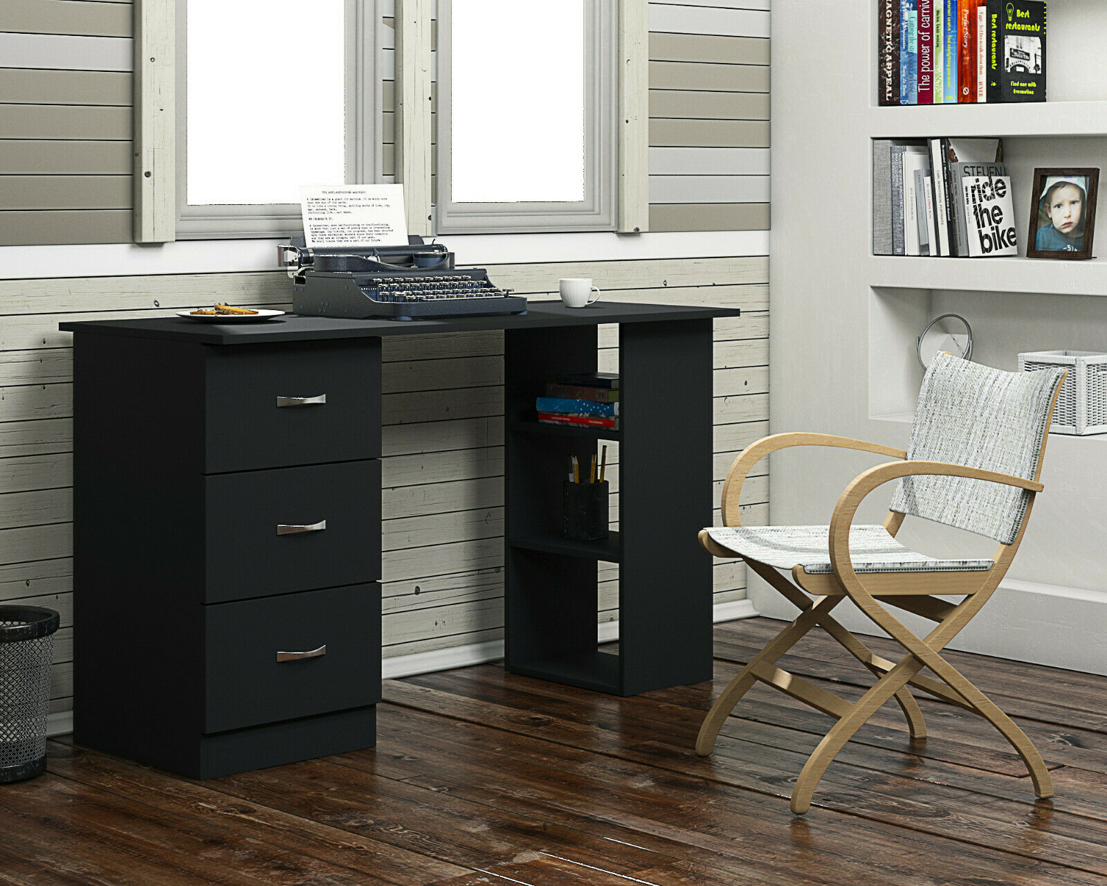 Image of: Modern Study Desk Computer Table With High Gloss Drawer Fronts 3 Drawer Black Harmin
